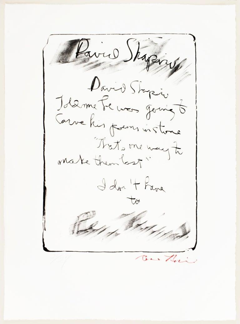 David Shapiro - Print by Rene Ricard