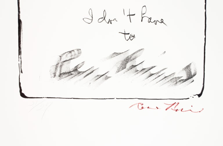 Paper 31 in. x 24.25 in. / 78.74 cm x 61.6 cm  Lithograph on German Etching paper. Edition 27: this impression 21/27. Signed by the artist lower right in red pencil; numbered 21/27 in pencil lower left.   The title of the piece is written in cursive