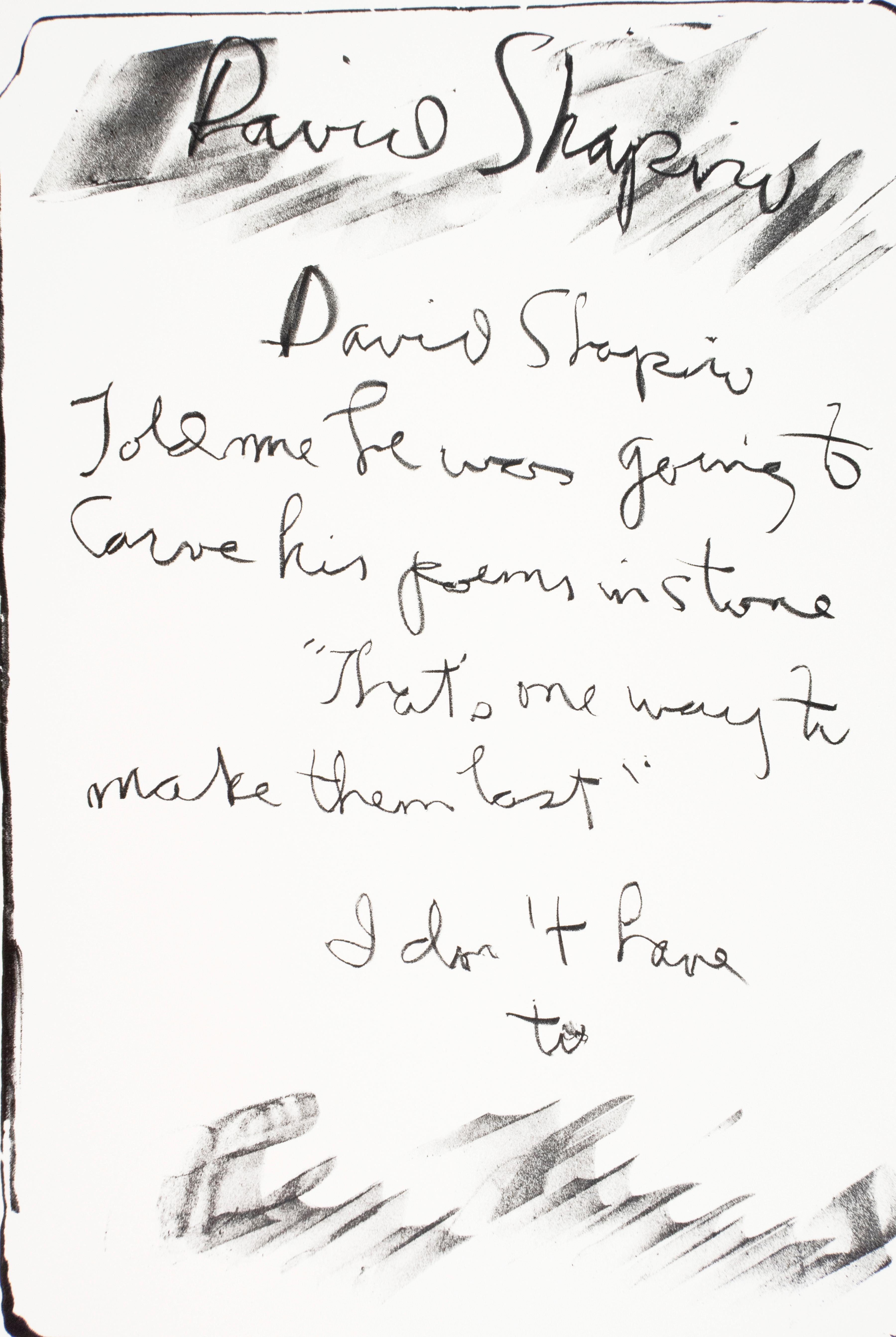 "David Shapiro: Rene Ricard vintage poetry tombstone print ""carved in stone"""