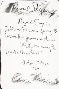 "David Shapiro: Rene Ricard vintage poetry tombstone print ""carved in stone"""