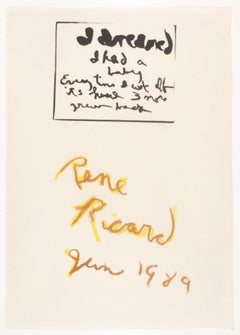 I Dreamed by Rene Ricard: abstract yellow and black brushwork with poetry