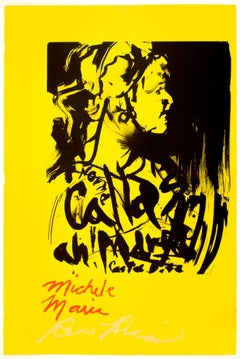 Michele Maria: bright yellow red Maria Callas opera artist portrait with poetry