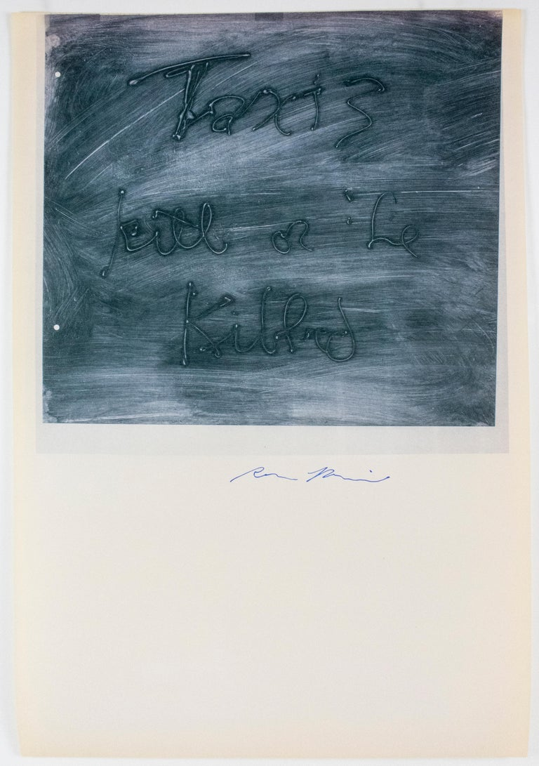 Taxis, Rene Ricard lithograph of New York City life in grey blue with poetry - Abstract Print by Rene Ricard