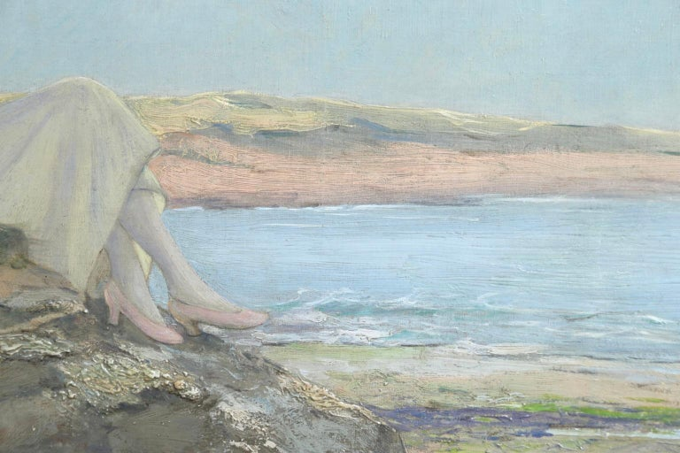 Resting on the Rocks - Impressionist Oil, Figure in Seascape by Rousseau-Decelle For Sale 1