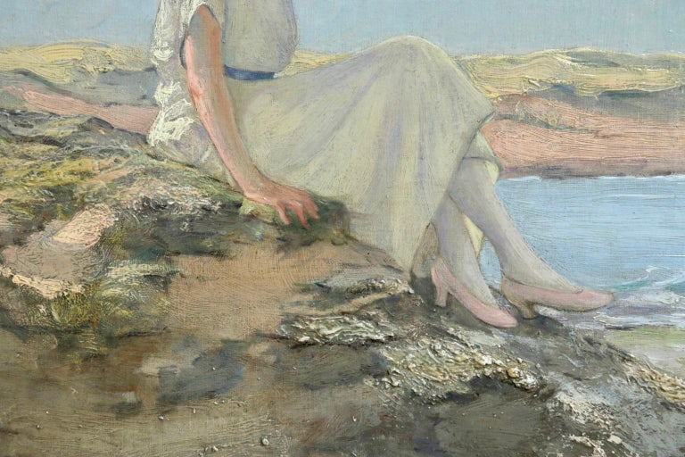 Resting on the Rocks - Impressionist Oil, Figure in Seascape by Rousseau-Decelle For Sale 3