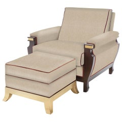 René Set of Beige Armchair and Ottoman