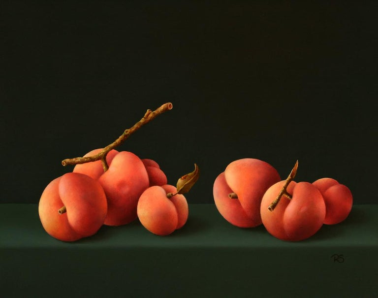 "René Smoorenburg Figurative Painting - ""7 Peaches"" Dutch Fine Realist Oil Painting Still-Life with Fruit"