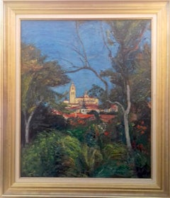 Large Colourful Southern Expressionist landscape painting, Spain Spanish village