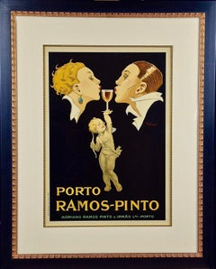 Framed Colorful French Port Wine Advertising Poster: Porto Ramos by Rene Vincent