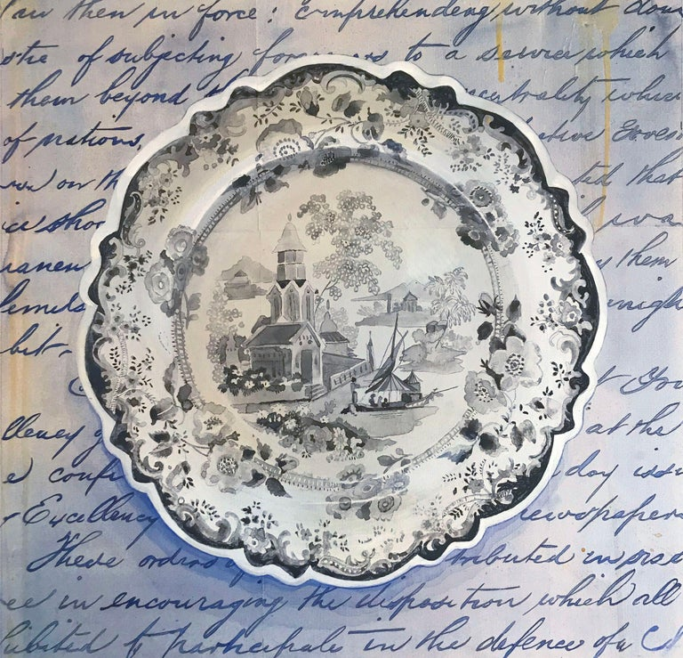 Renee Bott Still-Life Painting - Dinner Plate Black