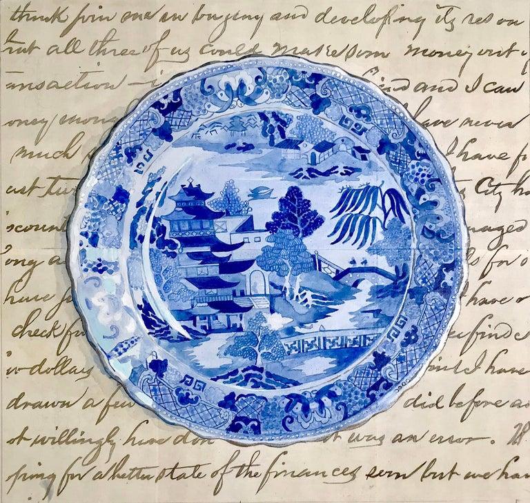 Renee Bott Still-Life Painting - Dinner Plate Blue