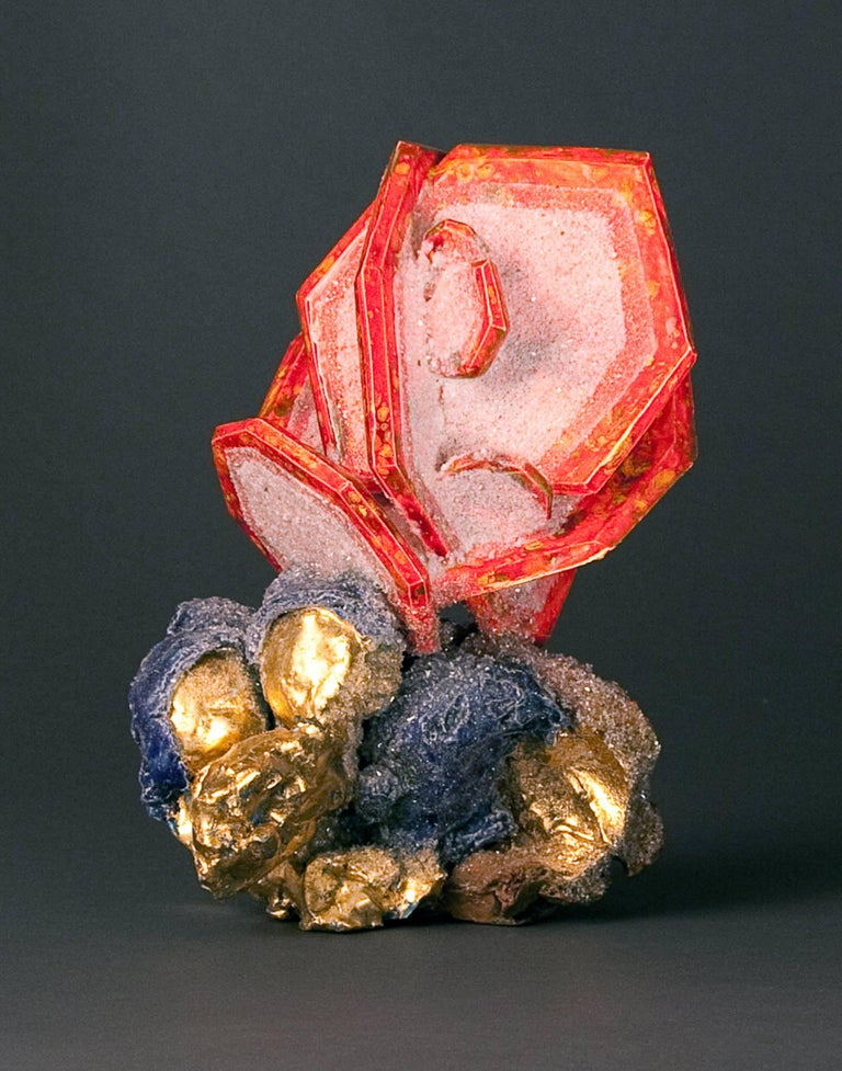 Rose Wulfenite with Cerussite, Botryoidal Gold with Azurite - Sculpture by Renee Brown