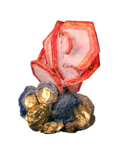 Rose Wulfenite with Cerussite, Botryoidal Gold with Azurite