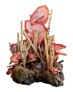 Wulfenite with Cerussite, Emergeitite, Botryoidal Plumium