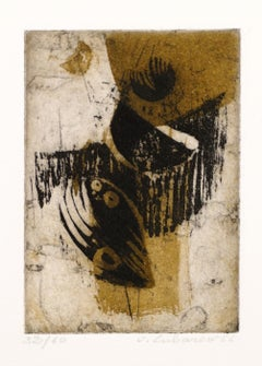 Abstract Composition - Original Etching and Aquatint by Renée Lubarow - 1966
