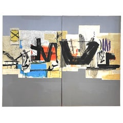 Large Scale Mixed Media Abstract Diptych on Canvas by Renee Ritter 1982