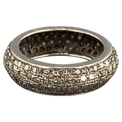 RENEE SHEPPARD sz 6.5 Sterling Silver Pave Diamond Encrusted Band Ring