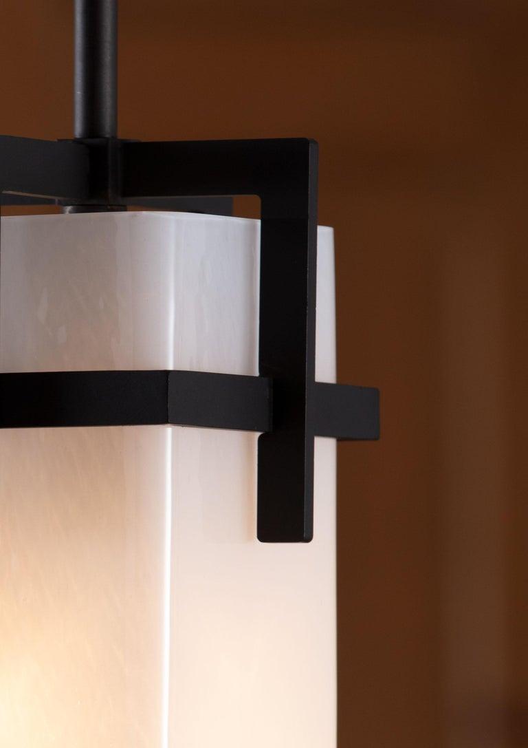 Italian Reng, Karamu, Mouth Blown Opaque Glass with Metal Framing For Sale