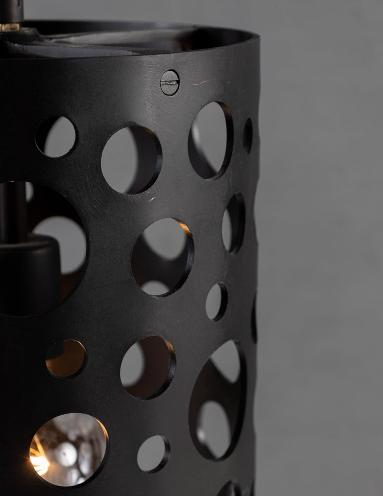 Contemporary RENG, Pierce I, Forged Steel, Perforated Circular Cut Outs on Cylinder Body For Sale