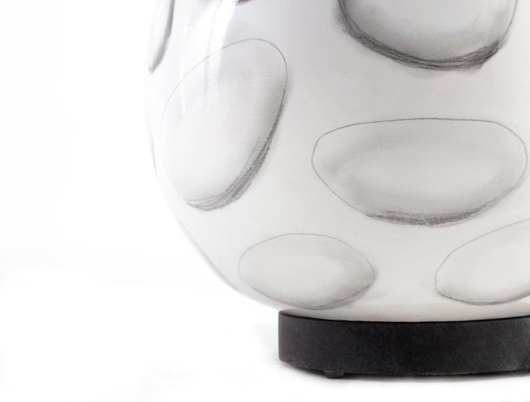 Modern Reng, Sheru, Gloss White Glazed Ceramic with Stylized Shell Design Lamp For Sale
