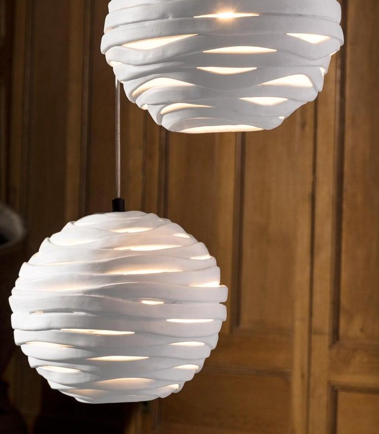 Modern Reng, Wrap, Hand Formed Ceramic Chandelier Light For Sale