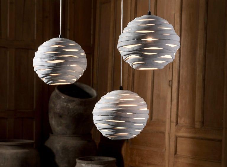 Italian Reng, Wrap, Hand Formed Ceramic Chandelier Light For Sale