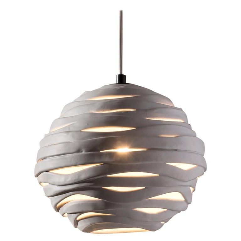 Reng, Wrap, Hand Formed Ceramic Chandelier Light For Sale