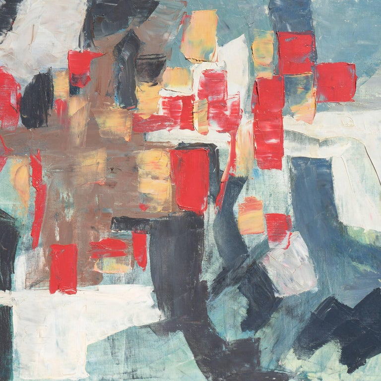 Abstract in Scarlet & Gray   (Blue Gray, Post-Painterly Abstraction) - Painting by Renn Zaphiropoulos