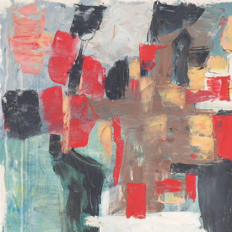 A substantial abstract oil comprising curvilinear and geometric rectangular shapes in shades of red, coral, and ebony overlaid on a scumbled ground of ivory, ochre, and steel-gray.  Signed lower left