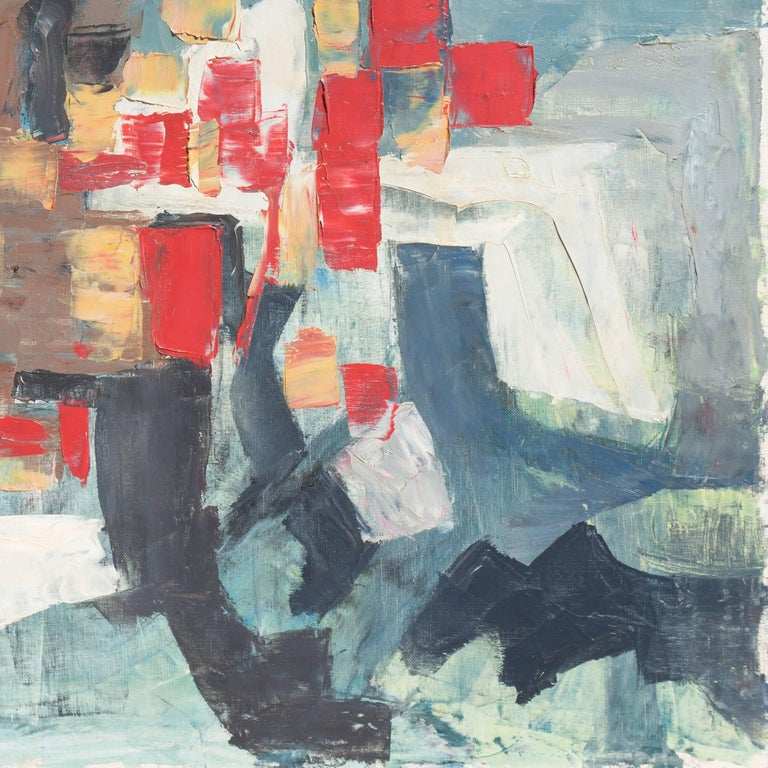 Abstract in Scarlet & Gray   (Blue Gray, Post-Painterly Abstraction) For Sale 1