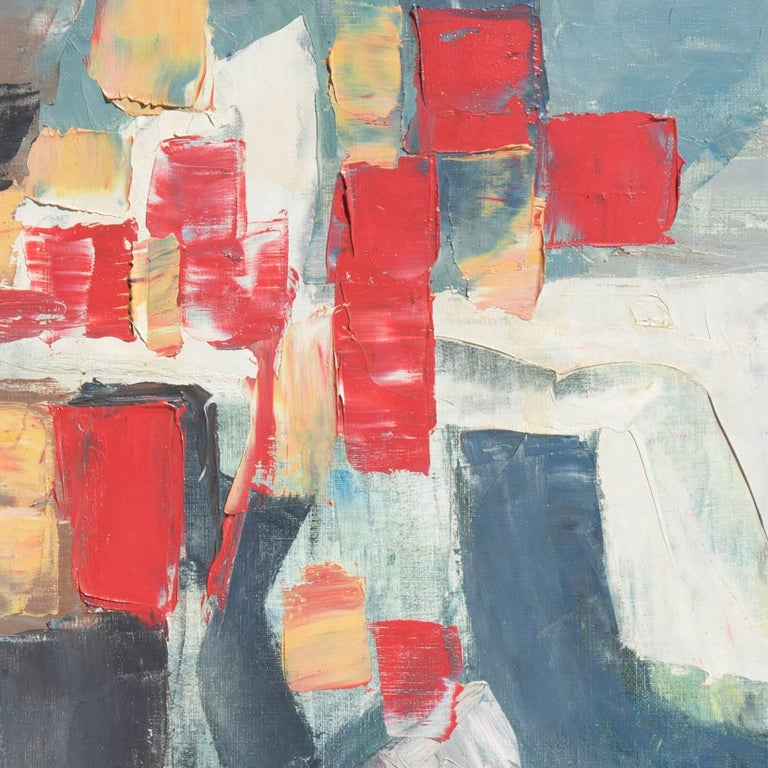 Abstract in Scarlet & Gray   (Blue Gray, Post-Painterly Abstraction) For Sale 2
