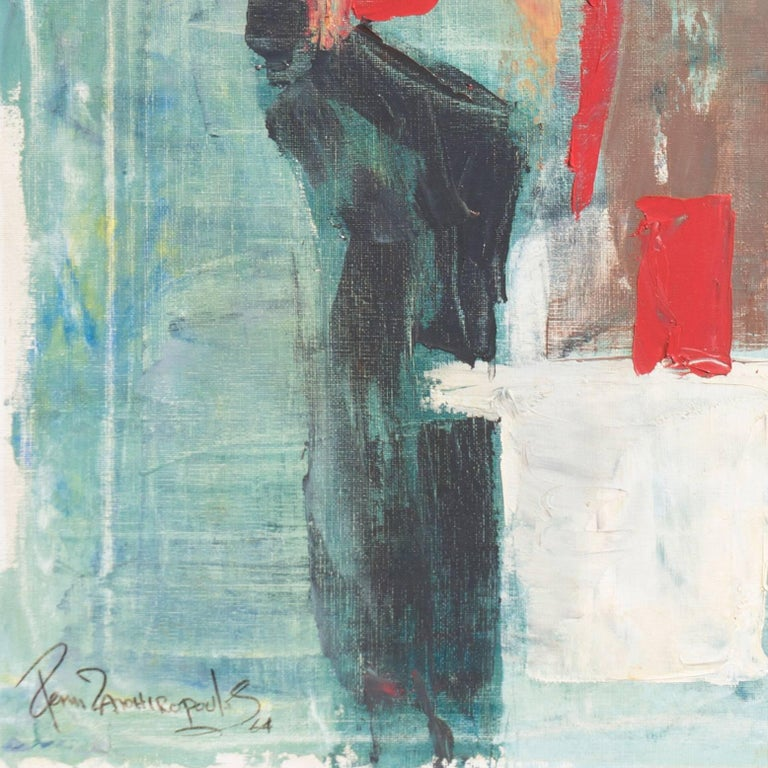 Abstract in Scarlet & Gray   (Blue Gray, Post-Painterly Abstraction) For Sale 3