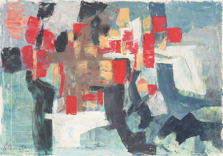Renn Zaphiropoulos Abstract Painting - Abstract in Scarlet & Gray   (Blue Gray, Post-Painterly Abstraction)