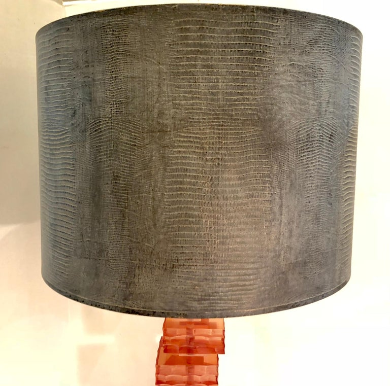 Mid-Century Modern Rennaissance 2000 Stacking Lucite Blocks Table Lamp with Gray Faux Lizard Shade For Sale