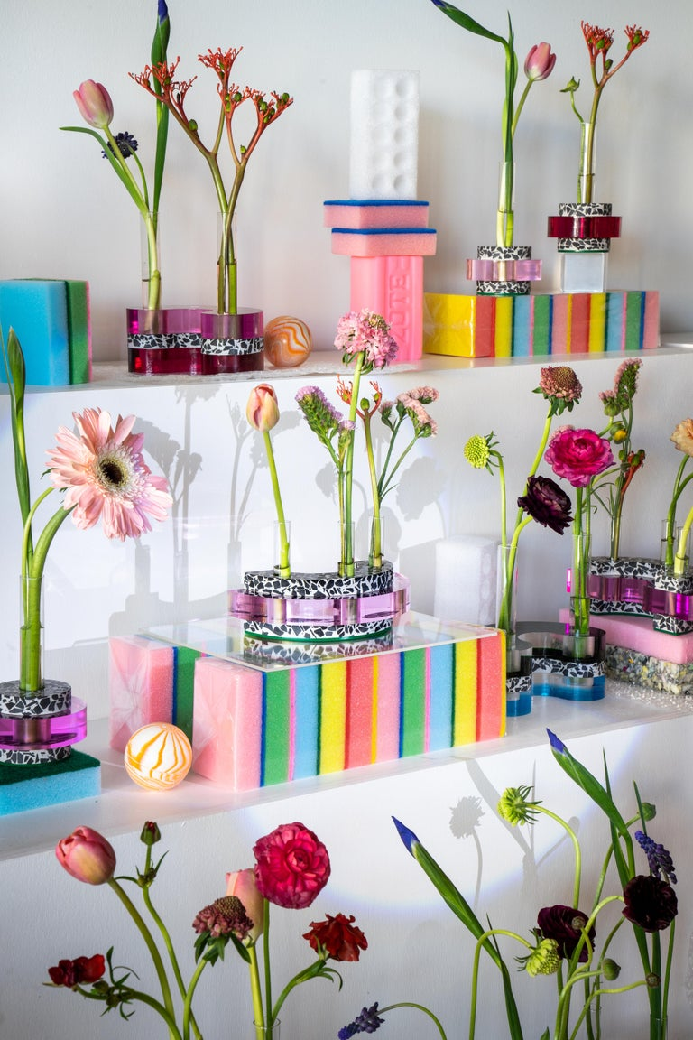 Contemporary Rennie Bud Vessel Vase in Cherry Blossom