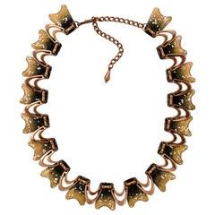 Renoir Matisse Copper Mid Century Gold Black and White Enamel Drop Link Necklace