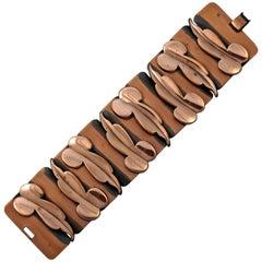 Renoir Mid Century Copper Wide Link Abstract Polished Leaf Bracelet