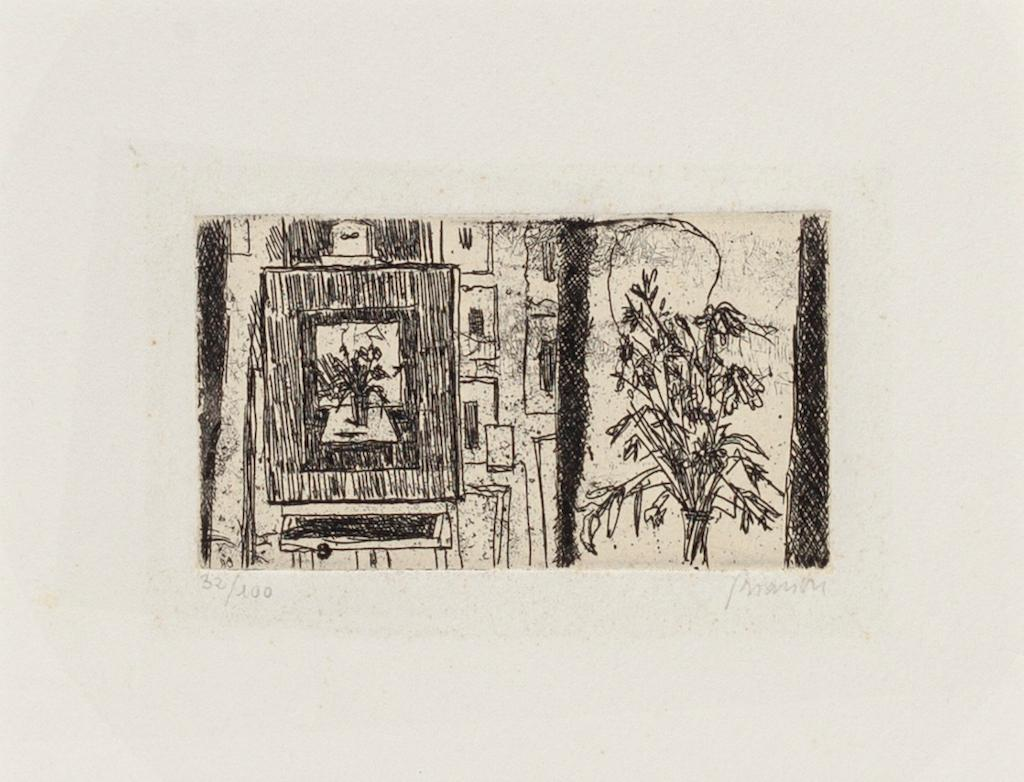 Flowers - Original Etching by Renzo Biasion - 1970 ca.