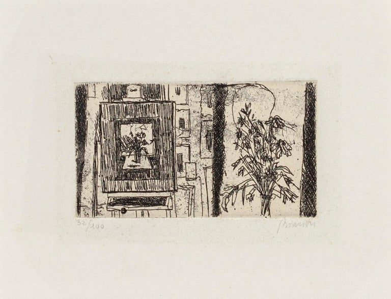 Flowers is an original etching on paper by Renzo Biasion.  Signed.  Numbered, Edition 32/100.  Passpartout: 34 x 49  The artwork represents Flowers in a well-balanced composition with perfect hatchings.