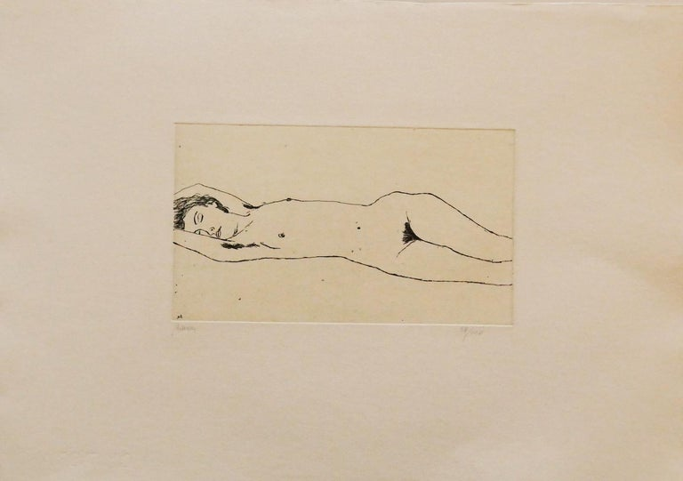 Nude - Original Etching by Renzo Biasion - 1972 For Sale 1