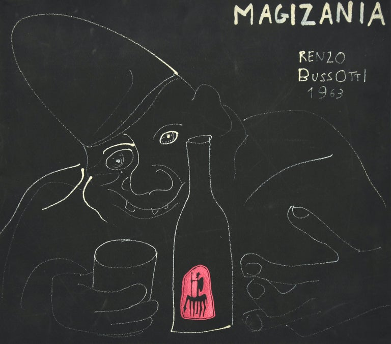 Clown is an original artwork realized by Renzo Bussotti in 1963.  White lead drawing on black cardboard.  Titled, signature and date by the artist on the higher right margin.  Good conditions.  The artwork represents a black composition with a scary