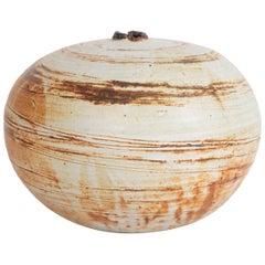 Renzo Faggioli Ceramic Vessel in Cream and Striped Earthtones
