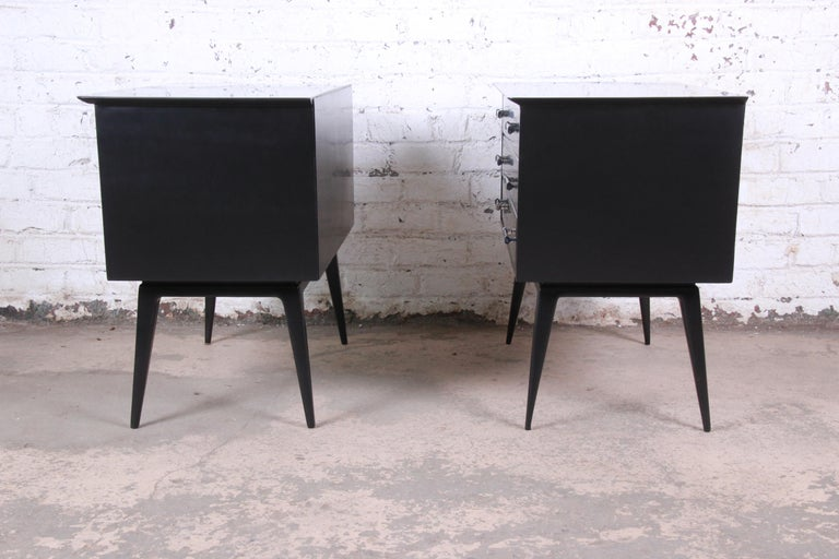 Renzo Rutili Black Lacquered Bachelor Chests or Large Nightstands Newly Restored For Sale 5