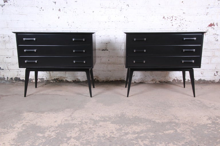 Mid-Century Modern Renzo Rutili Black Lacquered Bachelor Chests or Large Nightstands Newly Restored For Sale