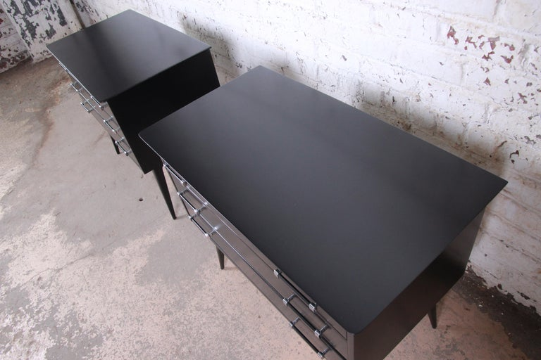 Chrome Renzo Rutili Black Lacquered Bachelor Chests or Large Nightstands Newly Restored For Sale
