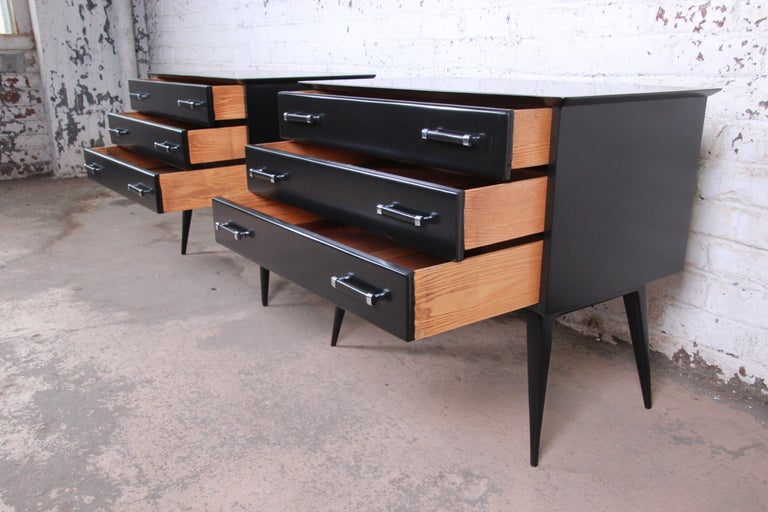 Renzo Rutili Black Lacquered Bachelor Chests or Large Nightstands Newly Restored For Sale 1