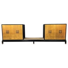 Renzo Rutili Lacquer & Gold Leaf Credenza for Johnson Furniture Mid Century