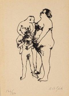 Erotic Scene - Original Lithograph by Renzo Vespignani - 1944