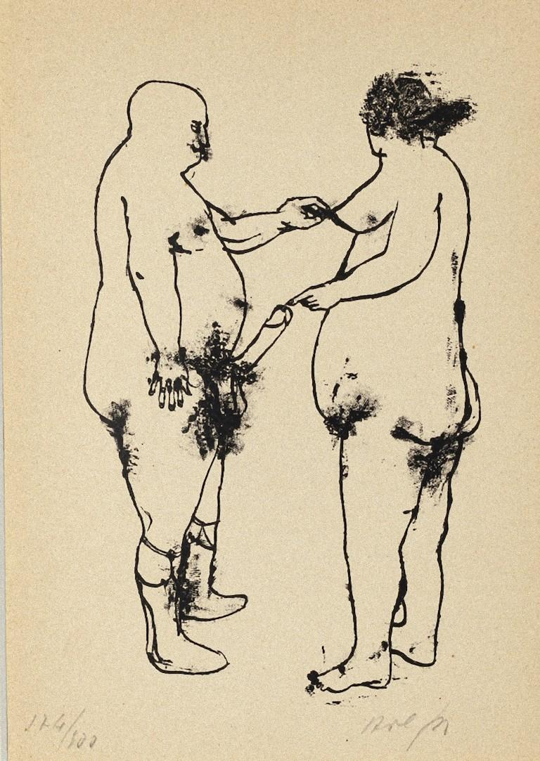 Erotic Scene is an original lithography print artwork on ivory paper realized in 1944 by the Italian artist Renzo Vespignani (Rome, 1924 - Rome, 2001).   Hand-signed and numbered by the artist in pencil on the lower, edition of 174/300