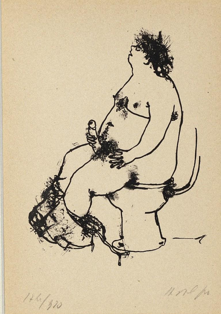 Erotic Scene - Original Lithography by Renzo Vespignani - 1944